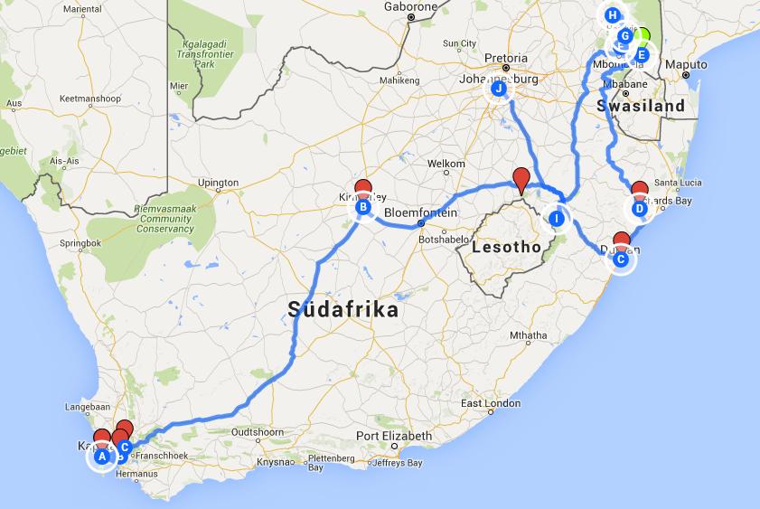 unsere Route Südafrika