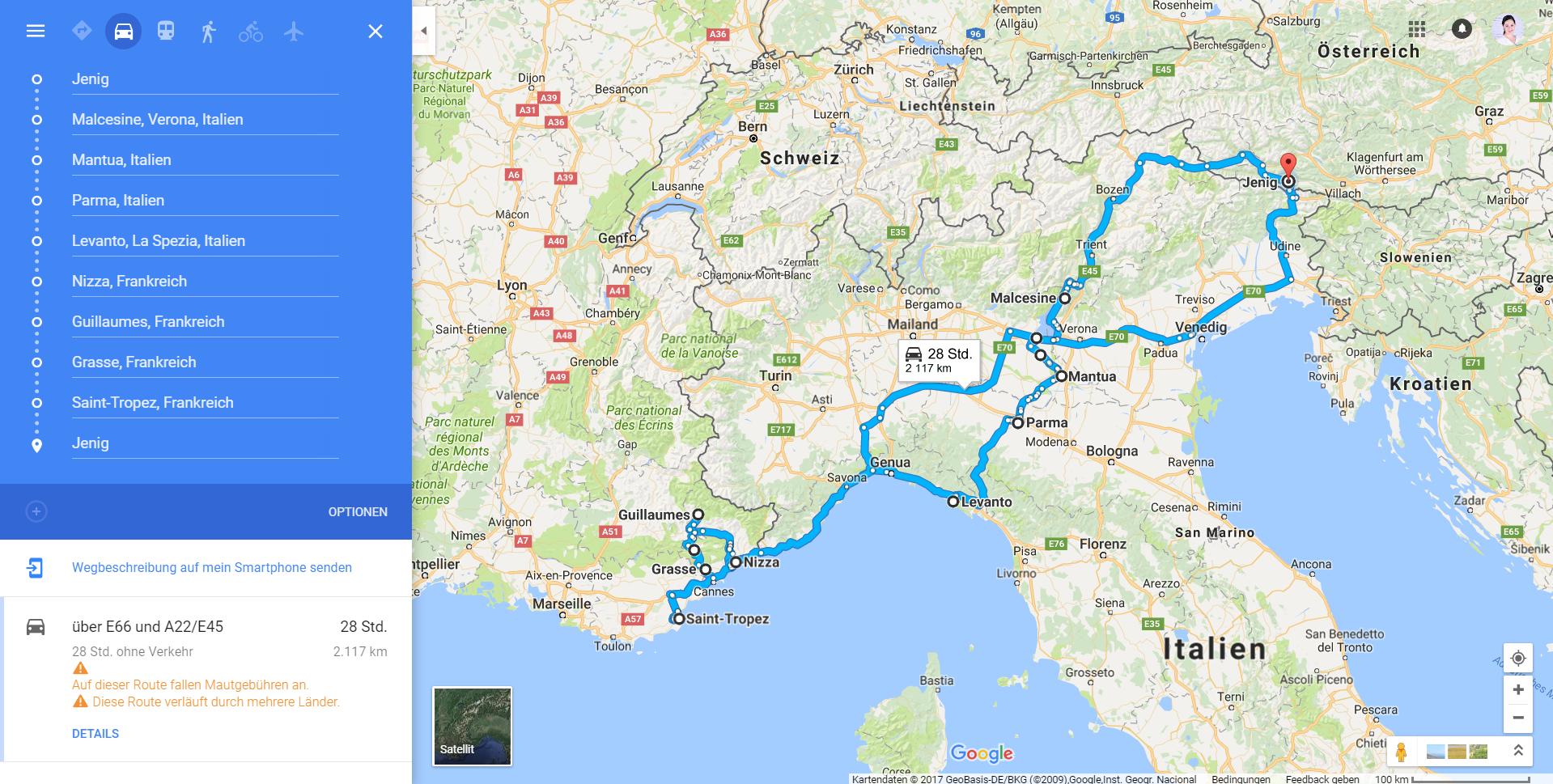 Road Trip Frankreich Italien