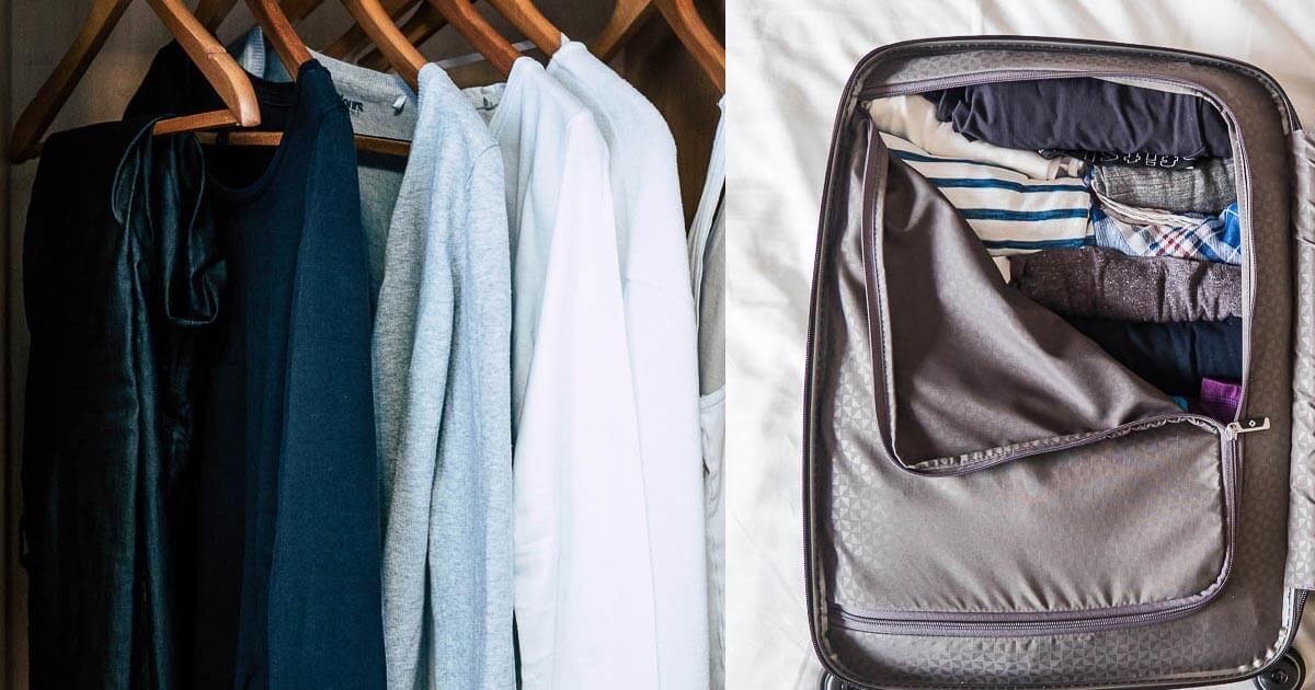 leichtes Gepäck und Ordnung auf Reisen