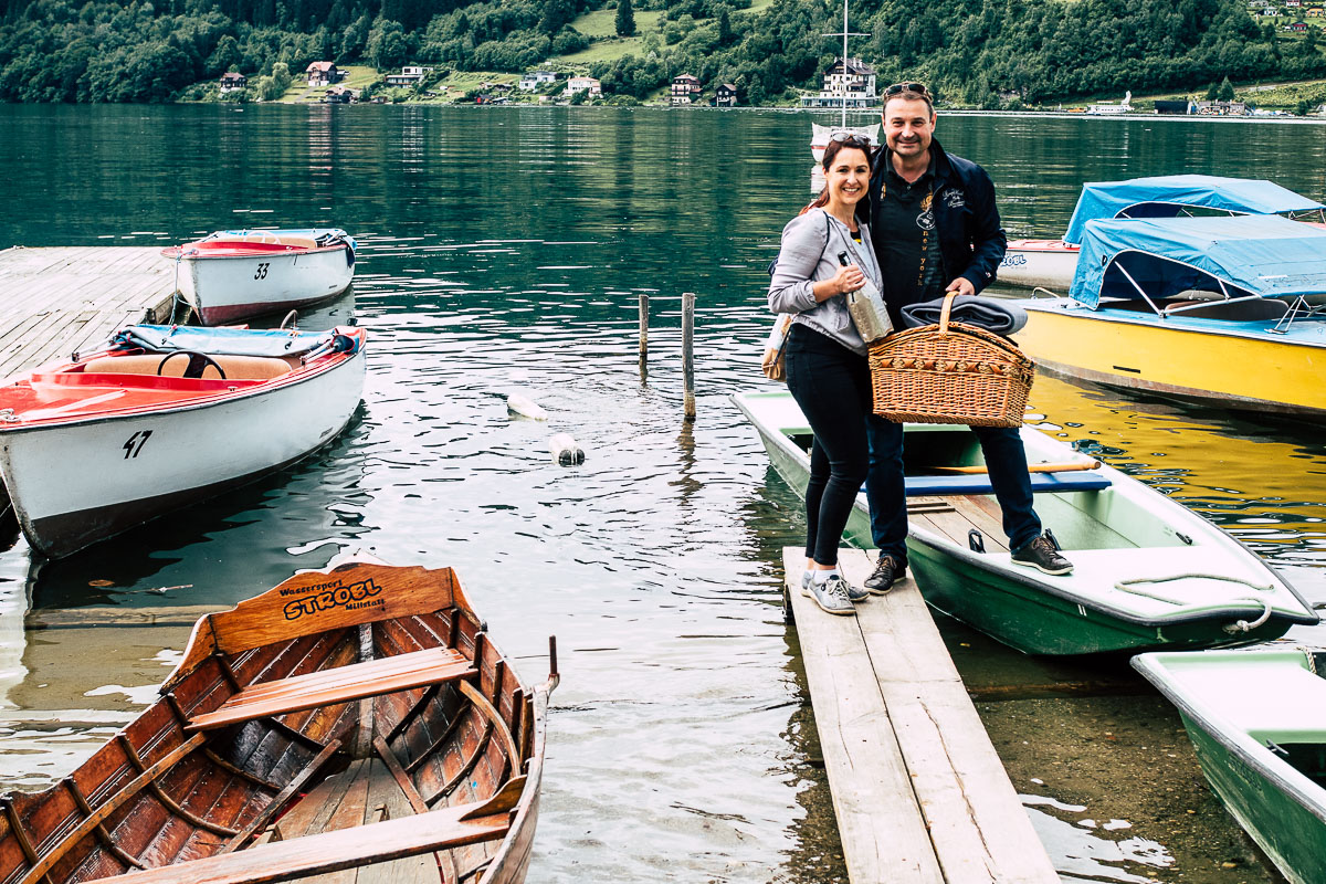 Picknickkorb und Boot zum Ausborgen am Millstätter See